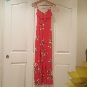 Floral Print Ruffle Button Front Maxi Dress